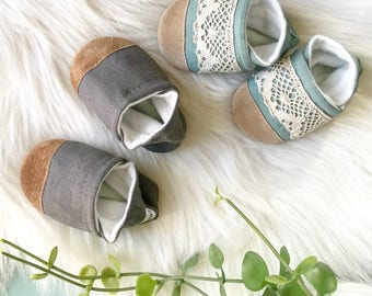 Soft Sole Baby Shoes- Aqua Linen with Lace