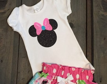 Minnie Mouse Pink Shorts, Shirt and Necklace Set