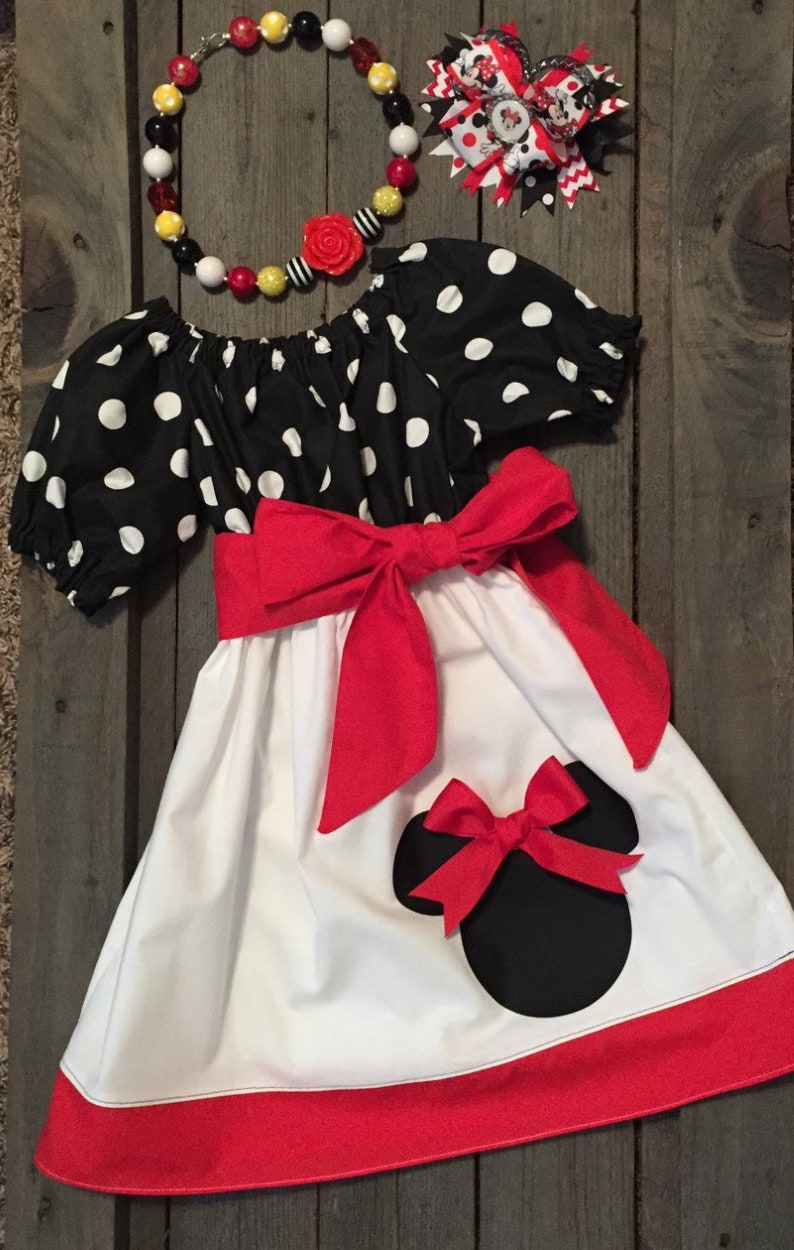 Girls Minnie Mouse Dress Necklace And Matching Bow