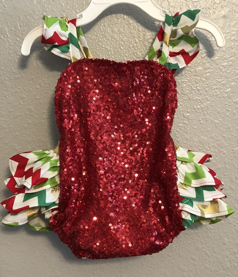 bac4b34acc4 Red Sequin Christmas Ruffle Romper