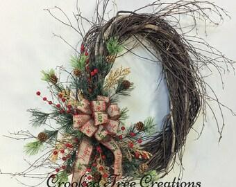Christmas Wreath, Holiday Wreath, Holiday Door Decor, Christmas Decor, Winter Wreath, Woodland Wreath, Rustic Wreath, Christmas Wreaths