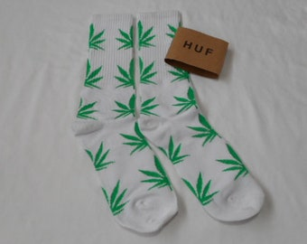 Weed Socks White with Green Leaves