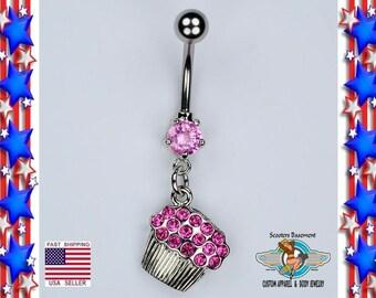 Cupcake Delight Multi-Gem Sparkle Dangle Belly Button Ring Light Pink