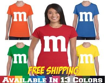M&M T shirt  M and M T shirt Halloween Costume Ladies Junior Fit T Shirt Tee