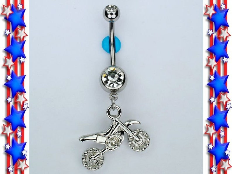 Motocross Dirt Bike Dangle Belly Ring Bar Double Gem Navel Piercing Jewelry 14g B1