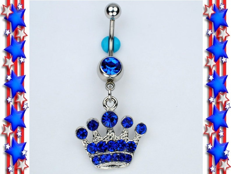 Crown Dangle Belly Ring Bar Blue Gemstone Queen Princess Tiara Navel Belly Button Piercing Jewelry 14g C30