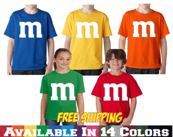 M&M T shirt M and M T Shirt Youth Halloween Costume Youth Kids Boys Girls T Shirt Tee