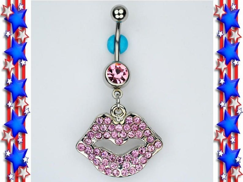 Lips Dangle Belly Ring Bar Pink Gem Kiss Smooch Xo Mwah Belly Button Navel Piercing Jewelry D25