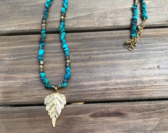Turquoise and Leaf Necklace
