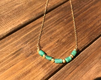 Emerald and Gold-Plated Brass Bead Necklace on a Gold-Plated Chain