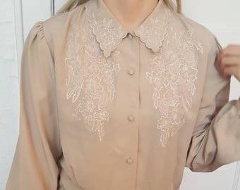 Vintage Tan Button Up Blouse