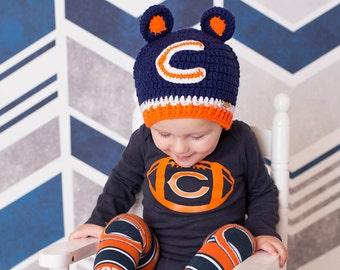 Chicago Bears Beanie, Unisex Chicago Bears Hat, Baby Beanie, Baby Photoprop, Football Hat, Baby Crochet Football Hat
