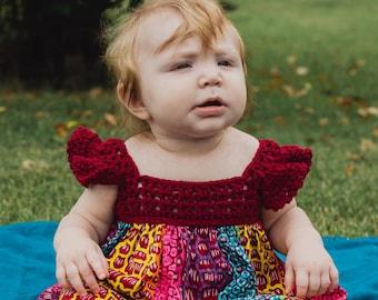Nguma Baby Dress, Baby Crochet Dress, Baby Dress, Baby Spring Dress, Baby African Print Dress, Baby Multicolor Dress, Newborn Baby Dress
