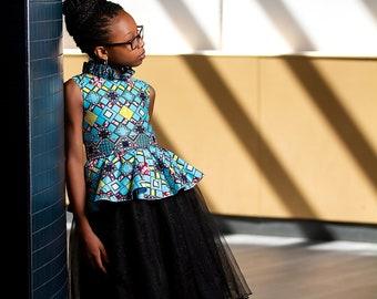 Peplum African Print Dress, Ankara Dress, Girls Peplum Dress, Girl Special Occasion Dress, Girls Black Dress, Girl Blue Dress
