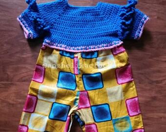 Baby Romper, Baby Crochet Romper, Baby African Print Romper, African Clothing for Kids