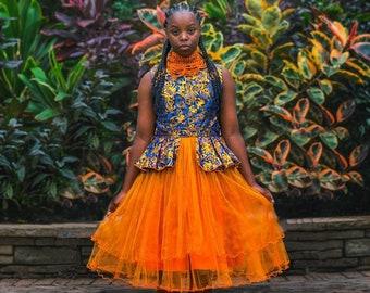 Peplum African Print Dress, Orange African Dress, Blue African Dress, Girls Metallic Dress, Orange Veil Dress, Girls Party Dress
