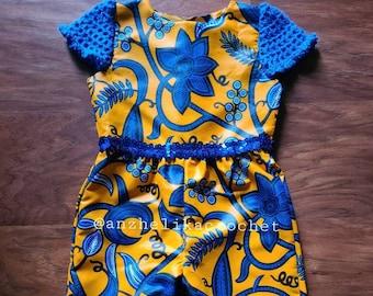 Ankara Romper, Baby Romper, Baby Crochet Romper, Baby African Print Romper, African Clothing for Kids