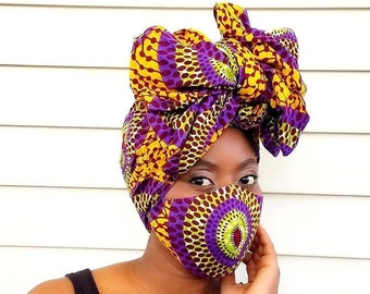 African Headwrap and Face Mask, Ankara Headwrap, Ankara Face Mask, Gele, Wax Head Tie, Foulard, Kitenge Headwrap, Ankara Crown, Head Scarf
