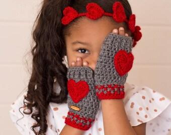 Valentine Mittens, Red Hearts Mittens, Fingerless Mittens, Fingerless Gloves