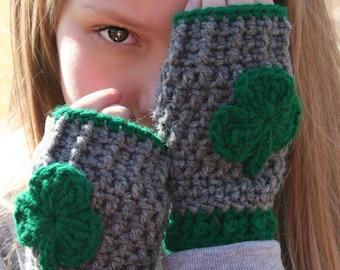 Shamrock Mittens, St Patrick's Day Mittens, Gray Fingerless Mittens, Irish Proud Mittens