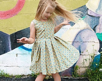 Metallic Gold Dress, Geometric Girl Dress, Girls Special Occassion Dress, Medallion Dress