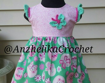 Baby Summer Dress, Floral Butterfly Dress, Baby Green and Pink Dress