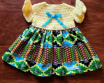 Kente Baby Dress, Baby Crochet Dress, Baby Dress, Baby Spring Dress, Baby African Print Dress, Baby Yellow Dress, Newborn Baby Dress