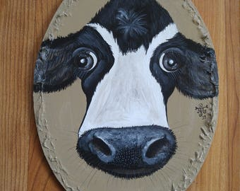 Friesian cow painting on reclaimed wood
