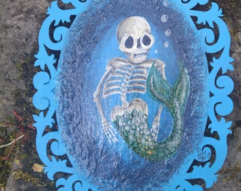 Dead to me, skeleton mermaid hand painted on wooden scalop piece