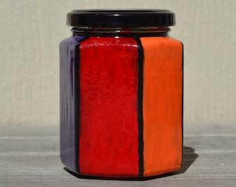 Colorful Equality Pride Rainbow Stash Jar One of a Kind Handpainted Glass Nug Jug