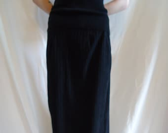 Black Vintage Express Vegan Suede Pencil Skirt Long Length, Size XS Small, Classic Goth Style Fashion