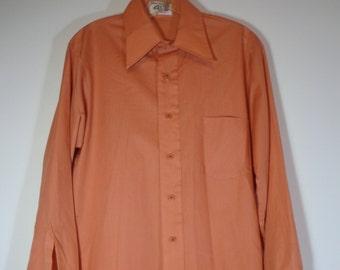 Van Heusen Vanopress Men's True Vintage 70's Fashion Dress Shirt Peach Orange Color