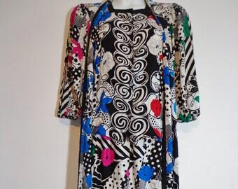 Vintage Versace Style Colorful Silk Print Skirt Jacket Blouse & Scarf Fashion Set, Retro 80s 90s Matching Dress Pieces
