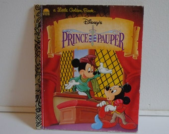 Vintage Disney's The Prince and the Pauper Little Golden Book, Illustrated Story Book from 1996 featuring Mickey Mouse