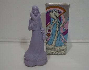 Vintage 70s Avon Fashion Figurine Roaring Twenties Unforgettable Cologne Perfume Bottle in Box, Rare Collectors Gift