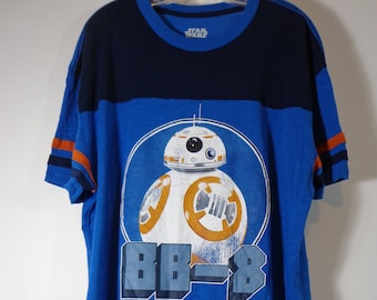 BB-8 Star Wars Distressed Retro Style Logo Tee Collectible Ringer Jersey T Shirt, Adult XL Sized