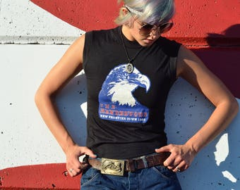 Rare Vintage 80s Motorcycle Biker Eagle Print Muscle Tank Shirt Real Dead Stock Rendezvous Rally Festival Fashion