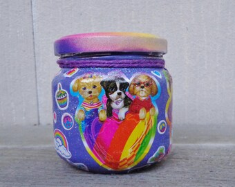 Kawaii Cute Animals Lisa Frank Purple Rainbow Sticker Stash Jar One of a Kind Handpainted Upcycled Glass Nug Jug