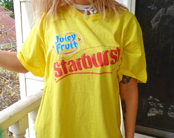 Bright Yellow Juicy Fruit Starburst Candy Gum Logo Art Graphic Print T Shirt, Size XL, Colorful Collectible Souvenir Tee