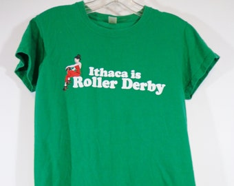 Vintage Green Roller Derby Girl T Shirt, Size Small Ithaca Logo Tee, Rollerskate Print