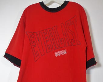 90s True Vintage Everlast Oversized Sweatshirt Red and Black Body Gear, Athleisure Street Fashion Style