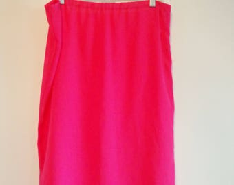 Bright Pink Vintage Sheer Slip Pencil Skirt, Neon Lolita Kawaii Fashion Aesthetic