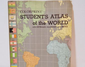 Vintage Colorprint Student School Atlas of The World Map Book, Retro Geography Ephemera Booklet