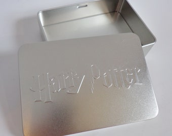 Collectible Embossed Silver Harry Potter Logo Tin Box Souvenir With Removable Lid Warner Bros Studio Store Rare Collectors Storage Gift