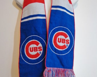 Chicago Cubs Logo Print Rare Bank of America Scarf Baseball Team Souvenir, Vintage Collectible Red White & Blue Acrylic Knit with Fringe