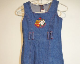 True Vintage 90s Disney 101 Dalmations Puppy Logo Print Girls Denim Romper Jean Dress Official Childrens Collectible Cartoon Fashion Sz 7/8