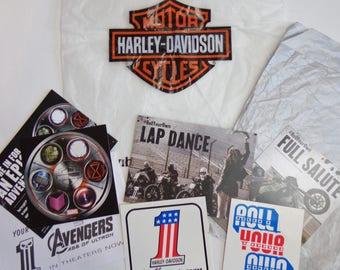 Harley Davidson Logo Stickers & Tissue Paper Shopping Bag Lot Destash, Scrapbooking, Upcycling, Collectors, Supplies