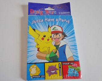 90s Pokemon Pikachu Birthday Party Invitations Cards New in Package Anime Cartoon Collectible Stationery Ephemera Psyduck Gengar Ivysaur