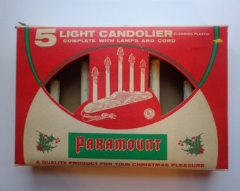 Vintage Paramount Mid Century Modern Xmas Candolier 5 Candle Light Christmas Display Decoration New in Original Box 1960s 60s