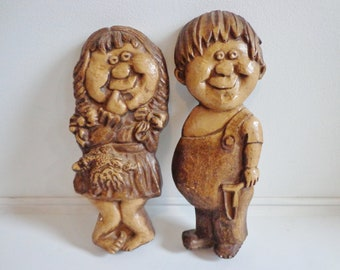 Cute Vintage Chalkware Girl & Boy Kitschy Wall Hanging Decor, 1960s Mid Century Modern Retro Collectible Unique Children Characters Set